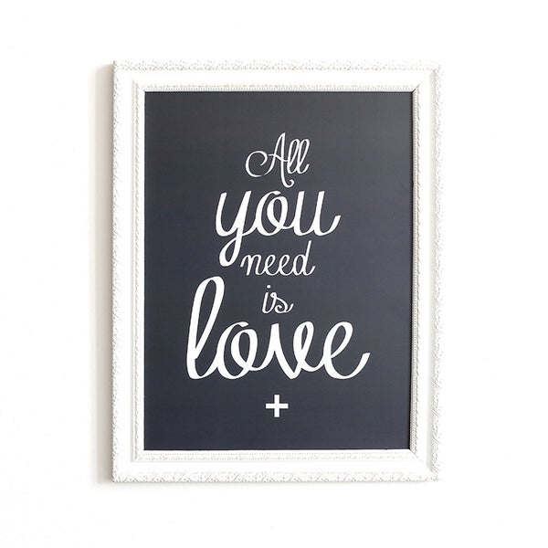 Image of AFFICHE 30x40 CM / ALL YOU NEED IS LOVE / MONA / ARDOISE