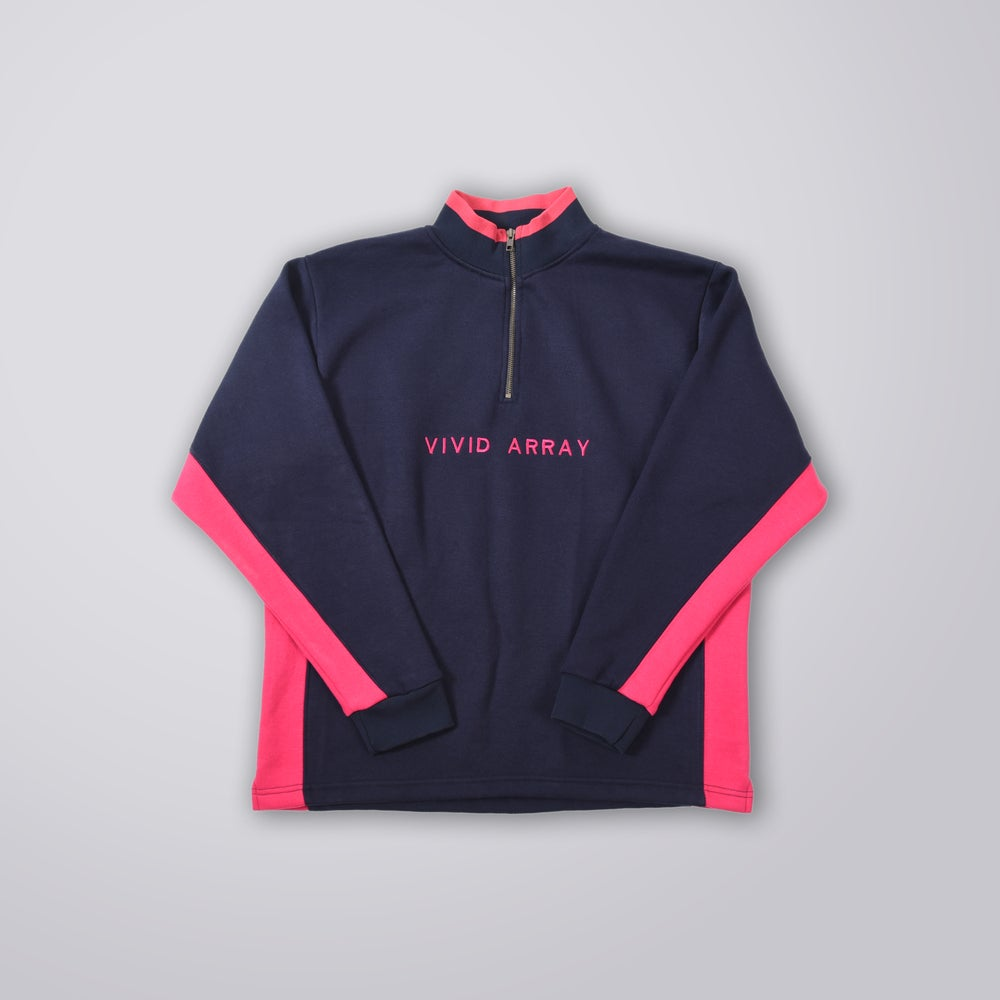 Image of Contrast Quarter-Zip - Navy & Pink