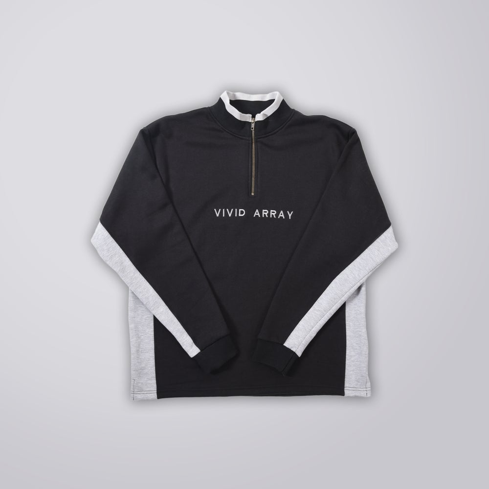 Image of Contrast Quarter-Zip - Black & Grey