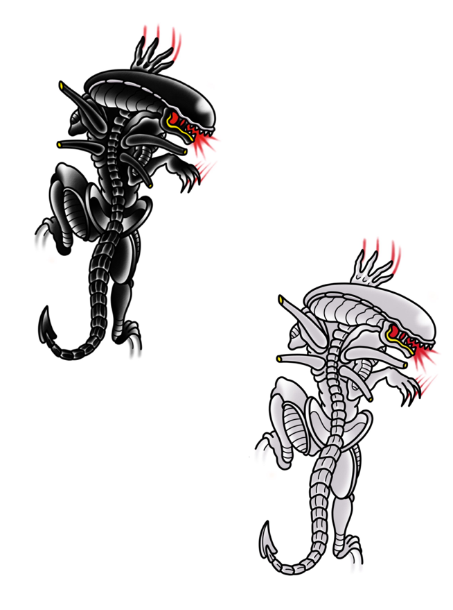 Image of Xenomorph & Neomorph Panther by PON (Stickers)