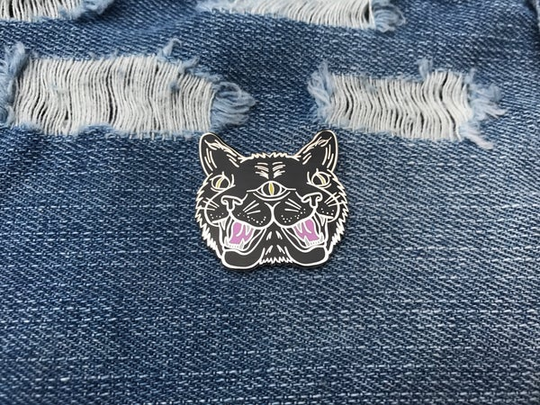 Image of Two Faced Cat Enamel Pin