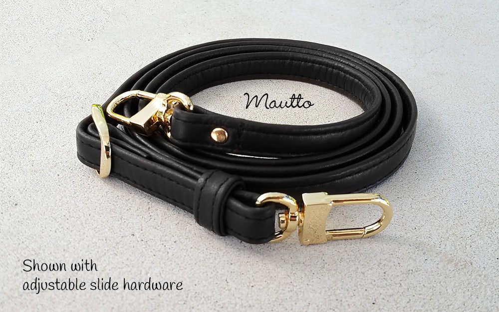 "Image of Black Leather Strap for Louis Vuitton (LV), Coach & More - .5"" Wide - Fixed or Adjustable Lengths"