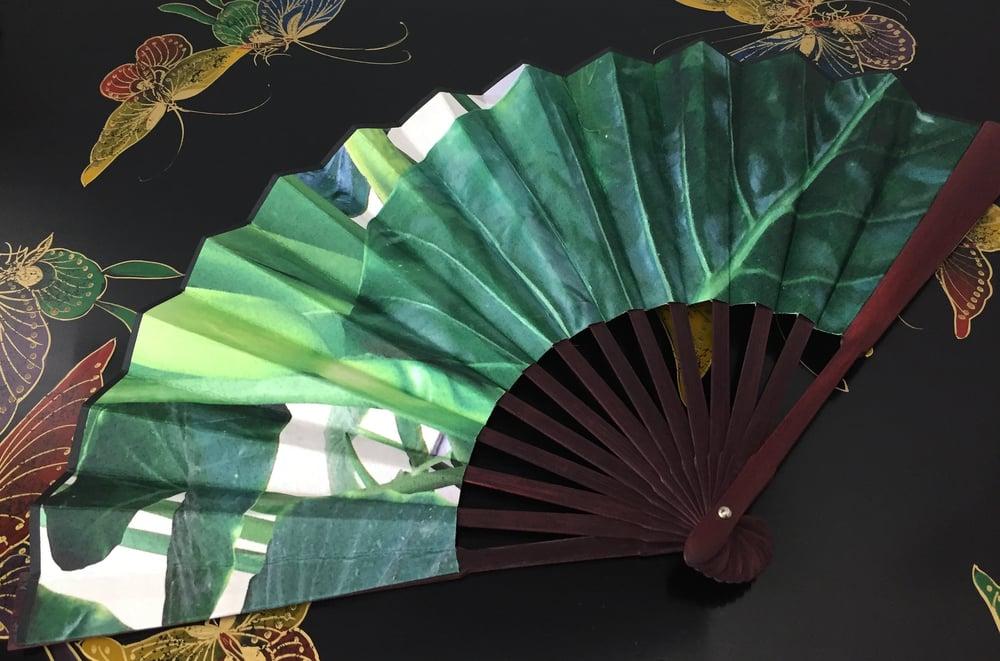 Image of Green Leafs Folding Fan