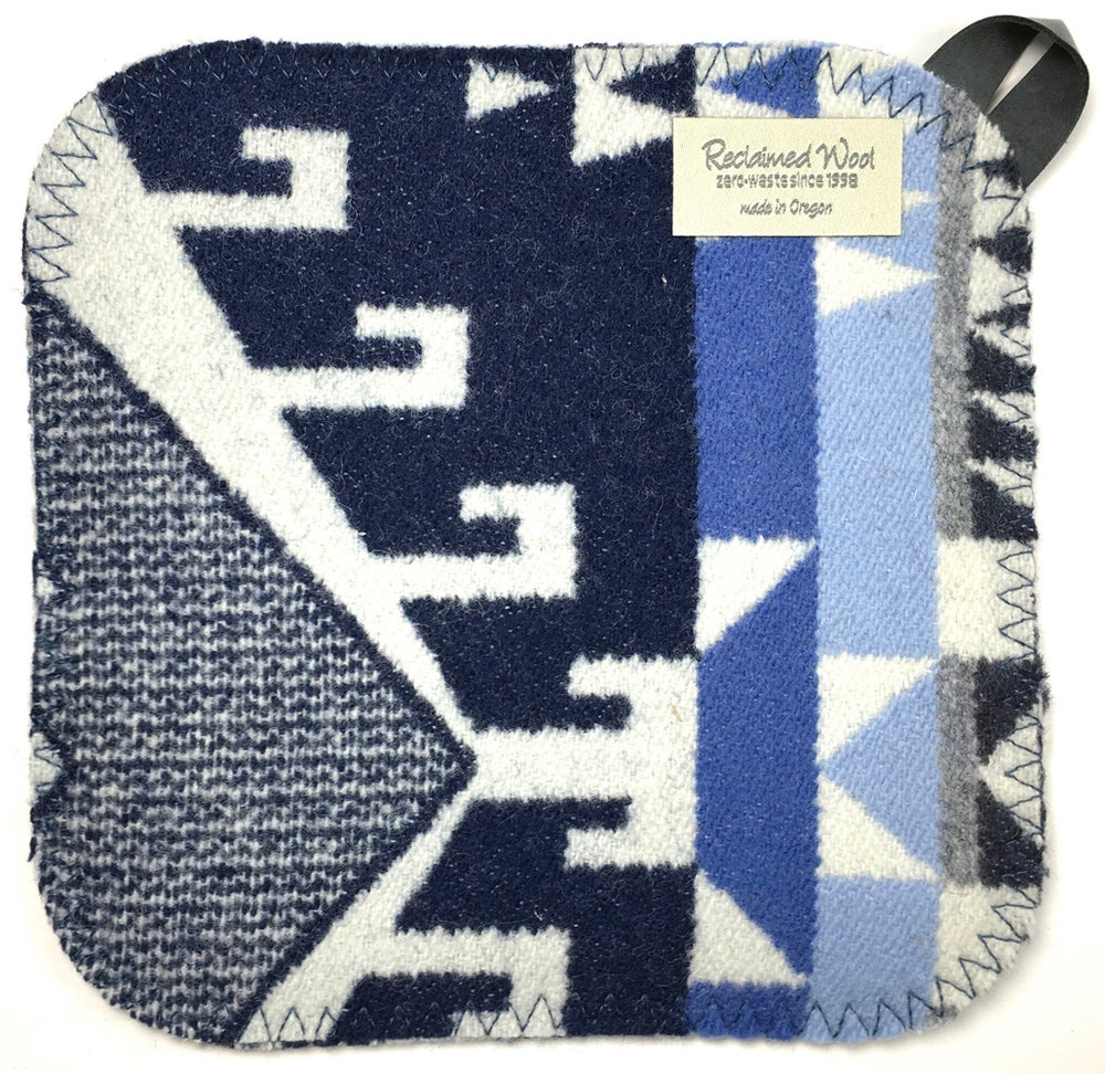 Image of Western Wool Potholder - Three Blues