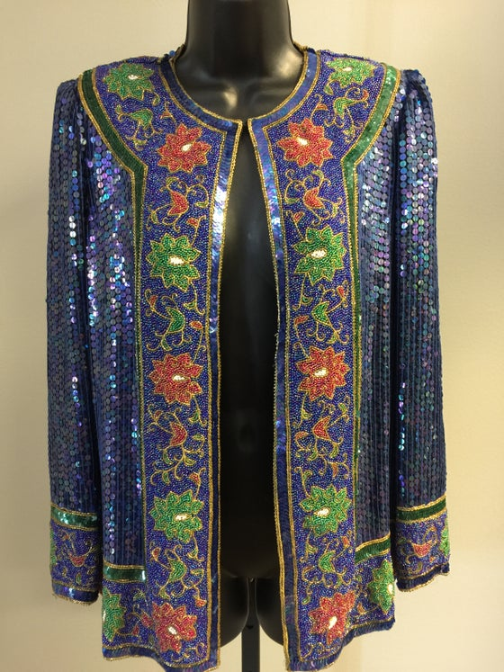 Image of VTG BLUEBERRY BEADED HEAVILY SEQUINED ROCKDOLL JACKET