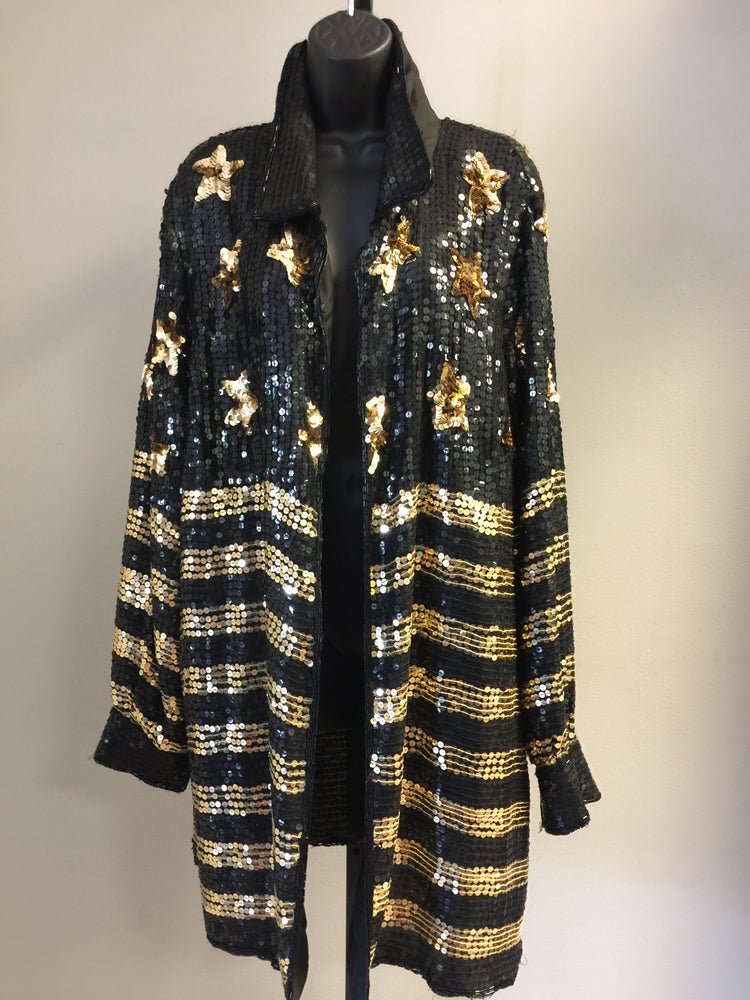 Image of VTG SILK SEQUINED ROCKSTAR DUSTER JACKET 2X/3X