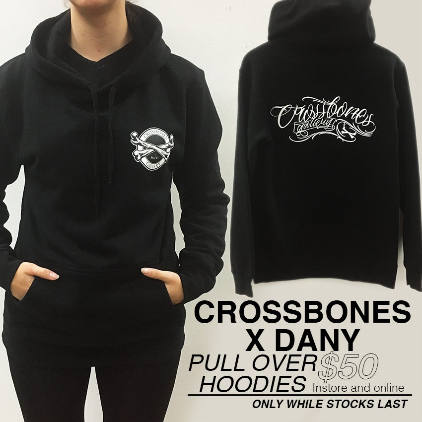 "Image of NEW! Pull-over Hoodie ""Crossbones Gallery x DANY"""