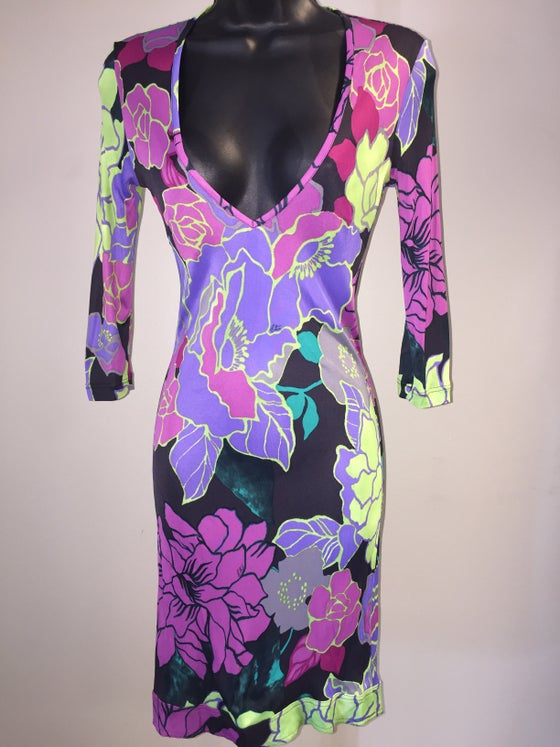 Image of ETRO BRILLIANT BOTANICAL SIGNATURE PRINT JERSEY DEEP V WIGGLE DRESS XS/S