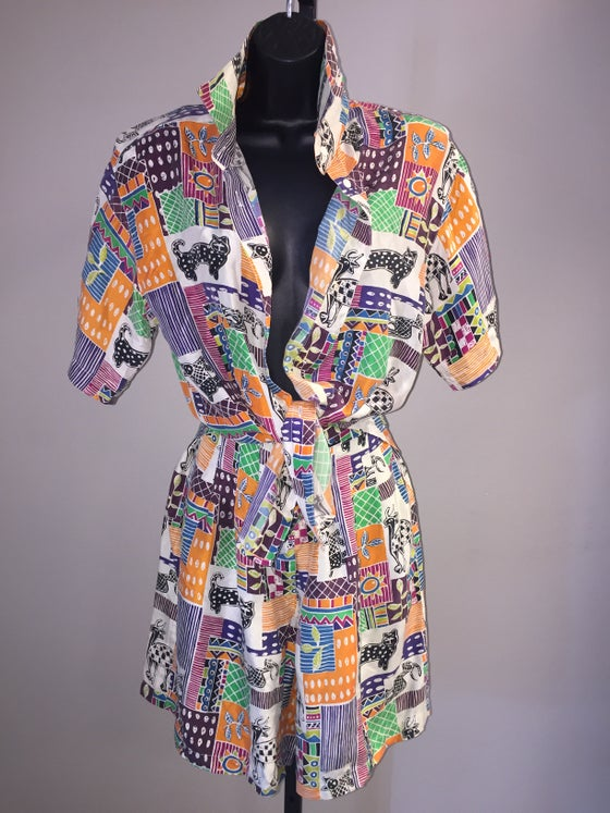 Image of VTG 2PC SILK PATCH PRINTED SHORT SET S/M