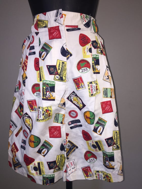 Image of VTG WHITE COTTON PRINT HIGH WAIST SHORTS M/L