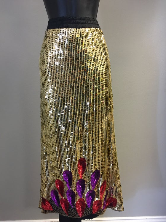 Image of VTG GOLDEN SILK SEQUIN BAGGY PENCIL SKIRT L/XL