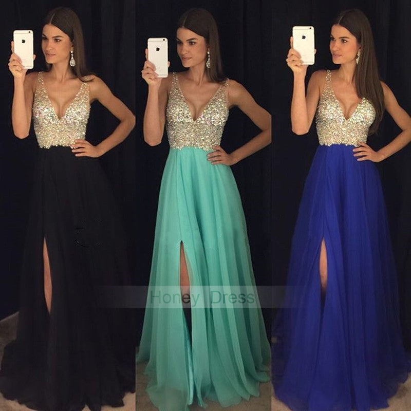 becc558b540f Image of Champagne Blue Mint Black Chiffon Beaded Bodice Deep V-Neck Long  Prom Dress ...
