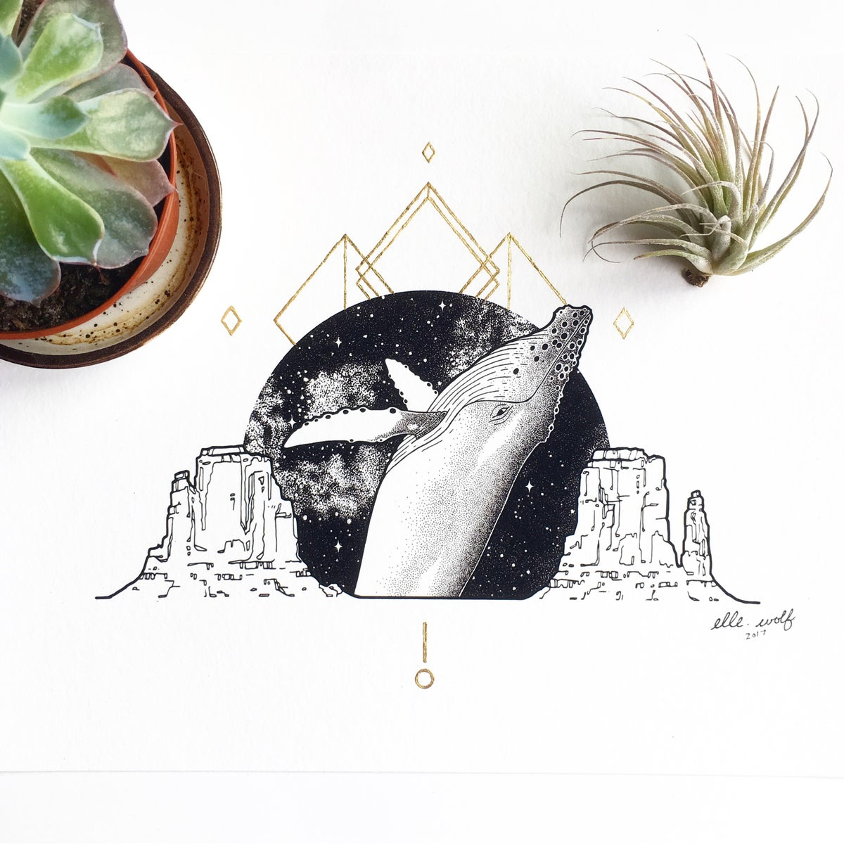 Image of Ancient Oceans: limited edition, gold leaf-embellished print