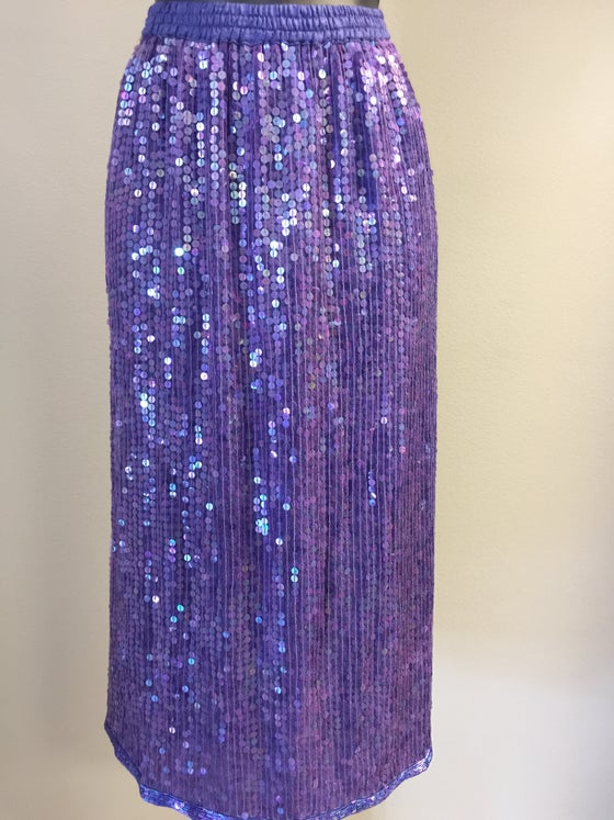 Image of VTG SILKY GRAPE SEQUINED ROCKDOLL SKIRT S/M