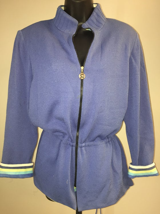 Image of ST JOHN POWDER BLUE DRAWSTRING PEPLUM KNIT CARDIGAN M/L