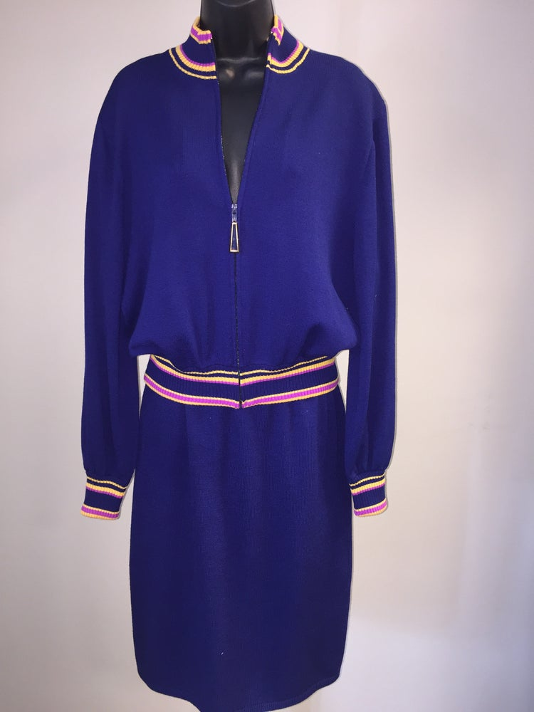 Image of ST JOHN SANTANA KNIT BLUE KNIT CARDIGAN SKIRT SET M/L