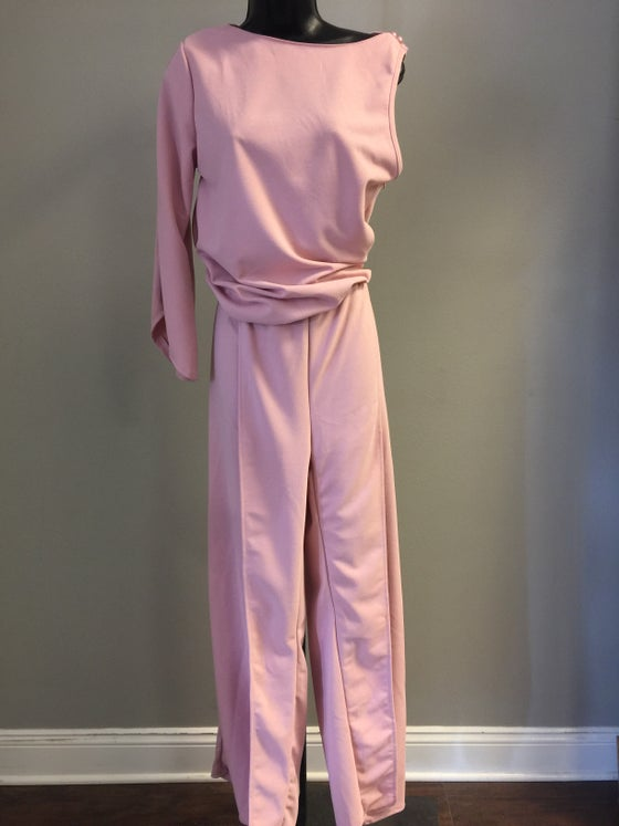 Image of VTG COTTON CANDY PINK SYMETRIC SPLIT PLAYSUIT L/XL