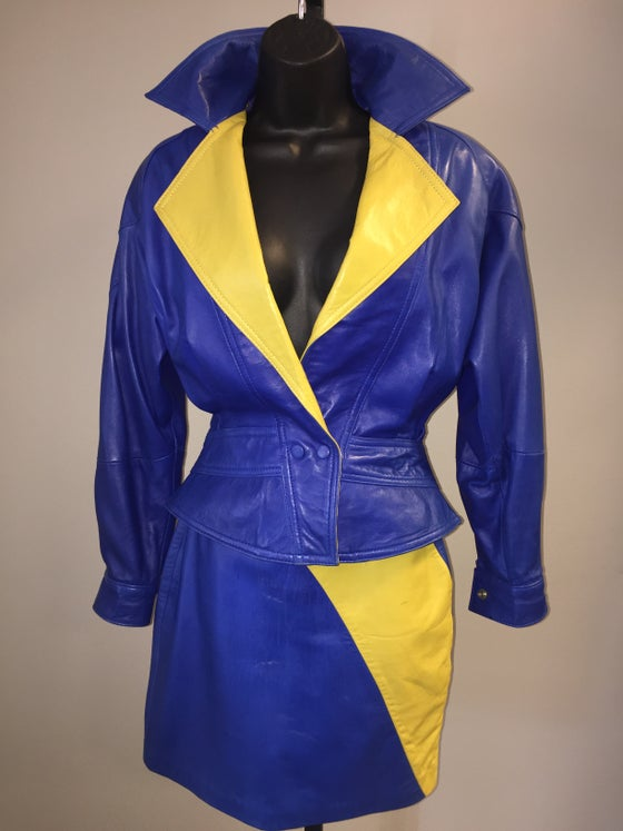 Image of VTG PELLE BUTTERY SOFT BLUEBERRY LIME LEATHER CAFE MOTO ROCKDOLL SKIRT JACKET SETXS/S