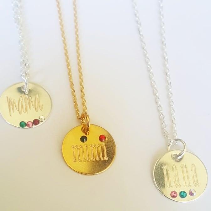 Image of mama, nana, mimi birthstone necklace