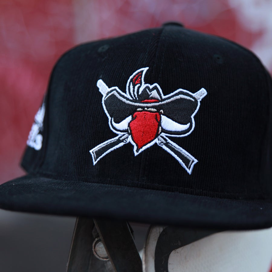 Image of Rioting Rebel Corduroy Black Snapback hat.