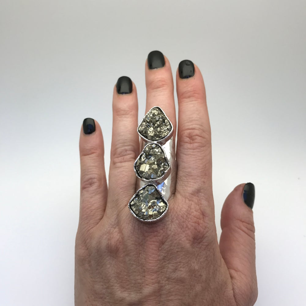 Image of Triple Pyrite Druzy (Silver)