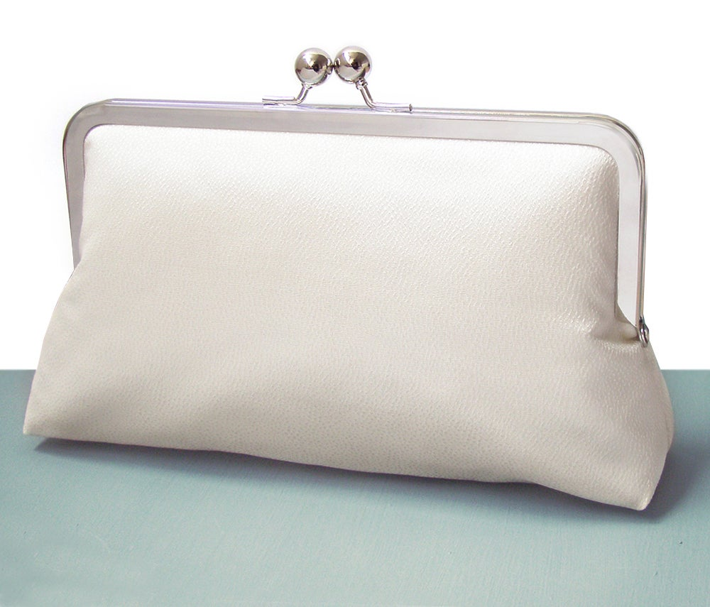 Image of Ivory clutch purse, silk bag with chain handle, wedding bridal clutch