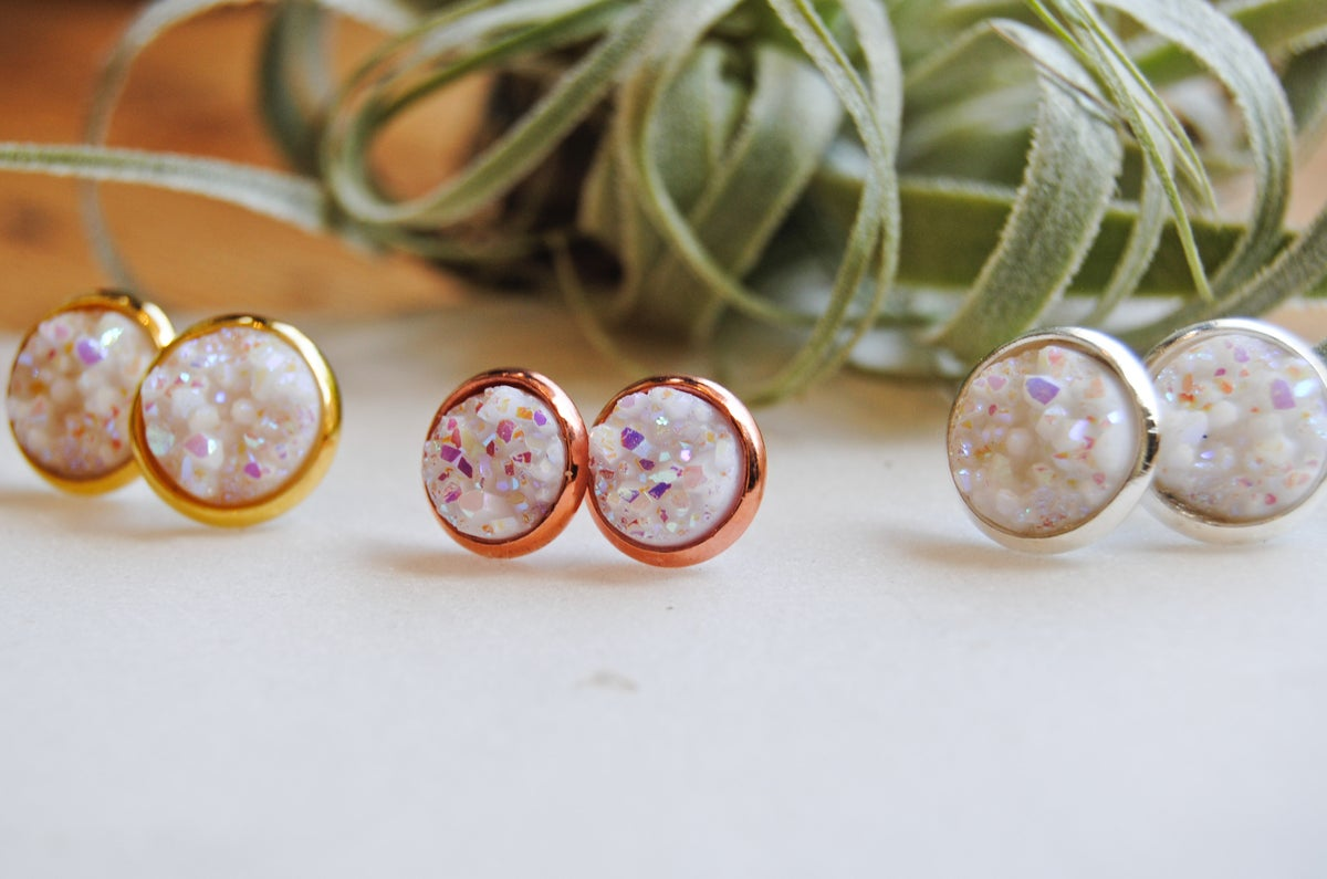 Image of White druzy stud earrings