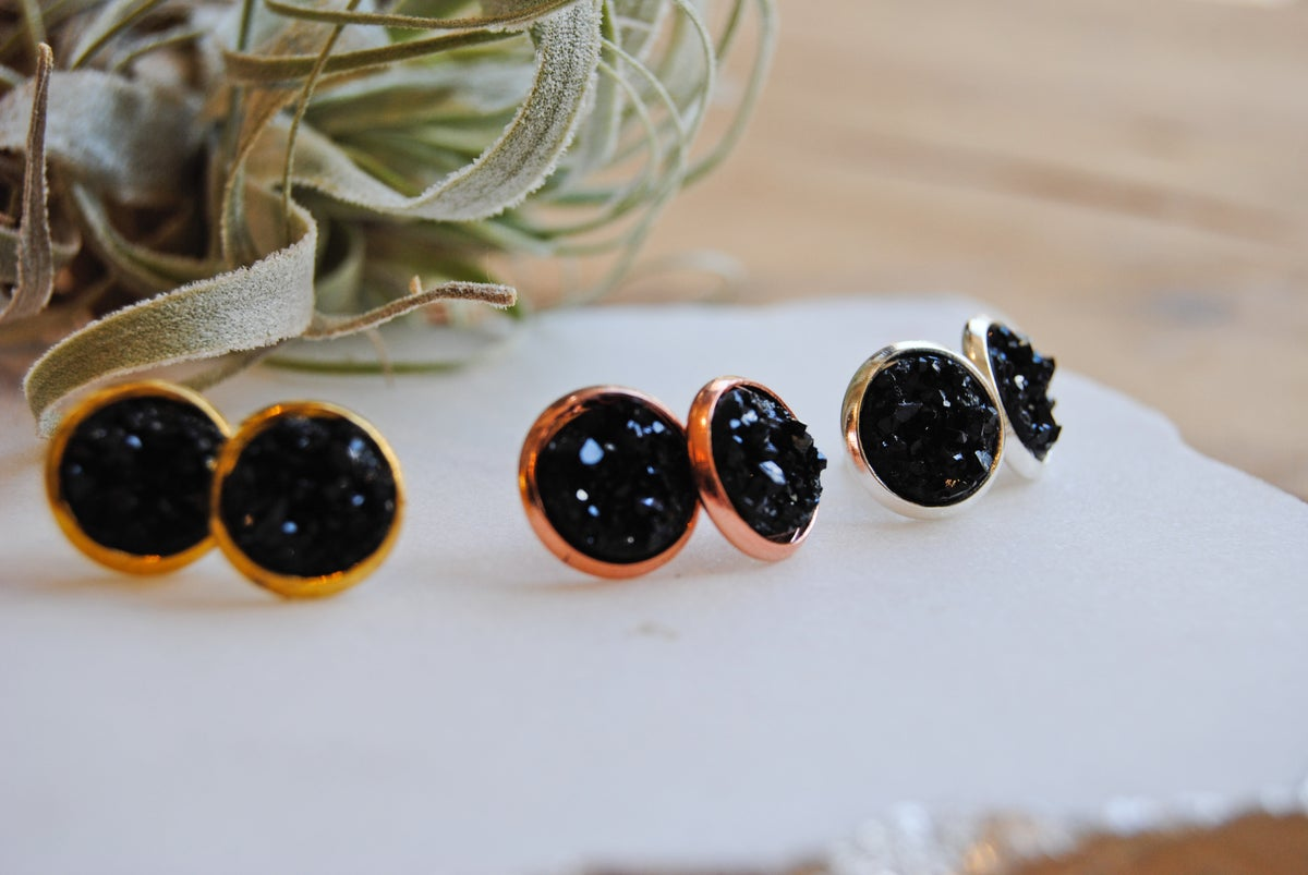 Image of Black druzy stud earrings
