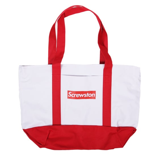 Image of SCREWPREME WHITE/RED TOTE