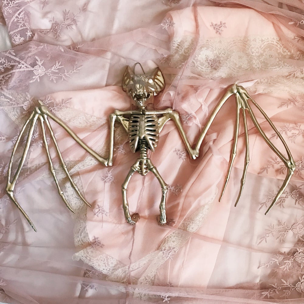 Image of Pre-order 22 inches golden bat skeleton wall decoration
