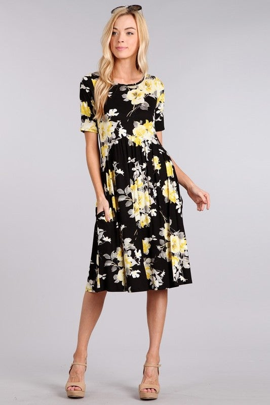 Image of Arch Waist Floral Pocket Dress | Black, Yellow, & Gray