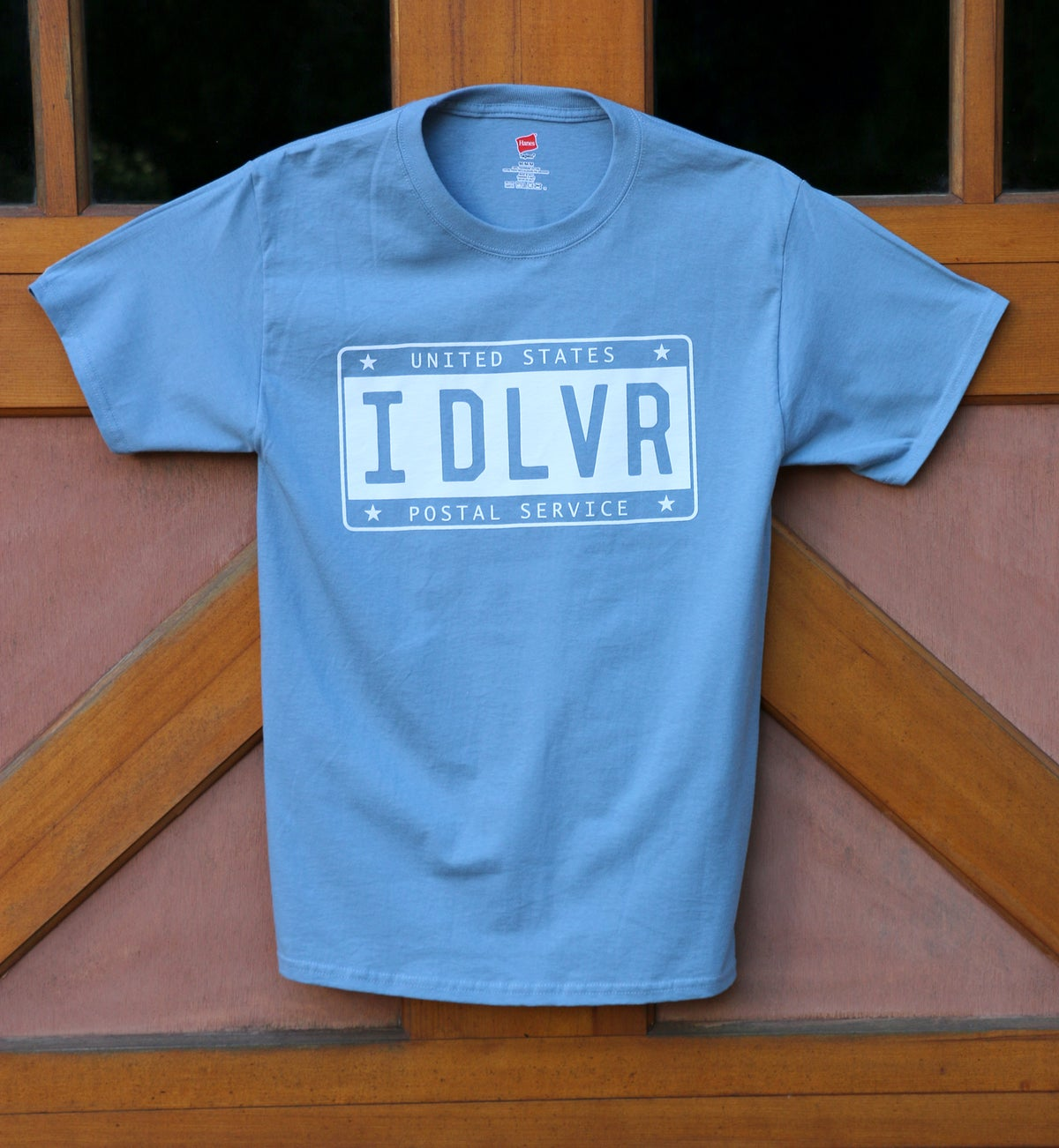 Image of IDLVR License Plate Tee - Stonewash Blue
