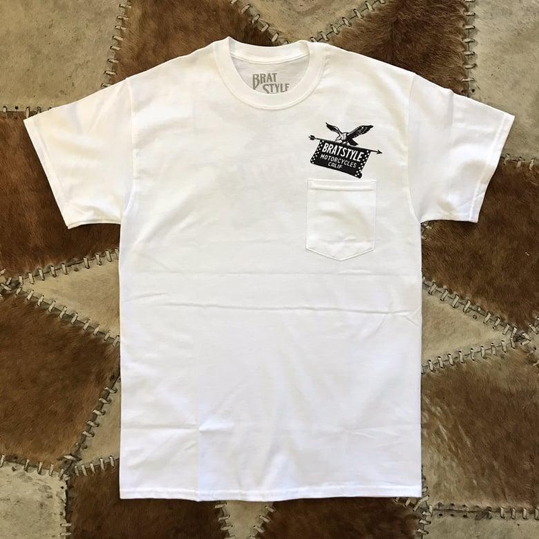 Image of EAGLE&FLAG T-SHIRT with Pocket WHITE
