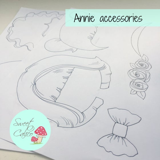 "Image of ""Annie"" accessories - additional styles suitable for Annie doll pattern"