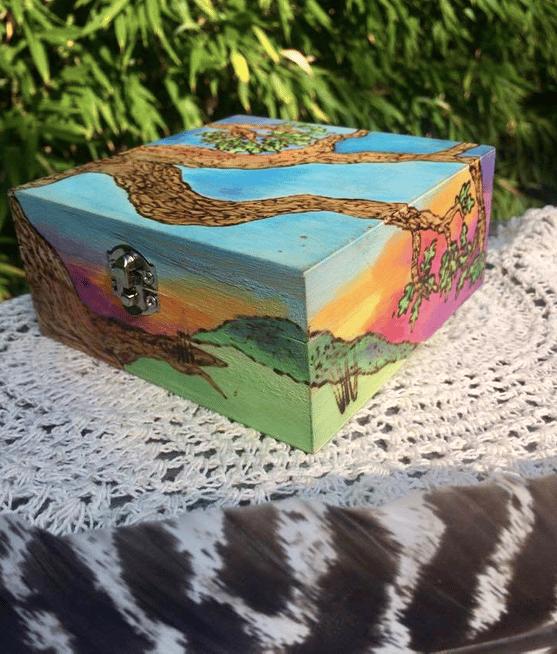 Image of Painted Landscape: Oak Box