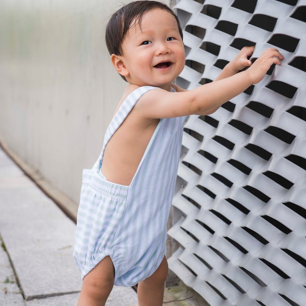 Image of Scout Cross Back Romper . Blue Stripe