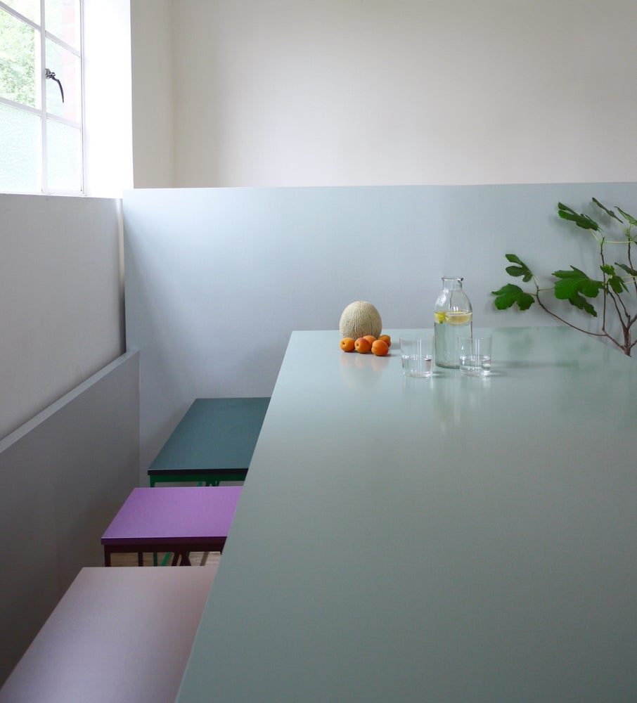 Image of Colour Play Dining Table in Eucalyptus and Deep Green
