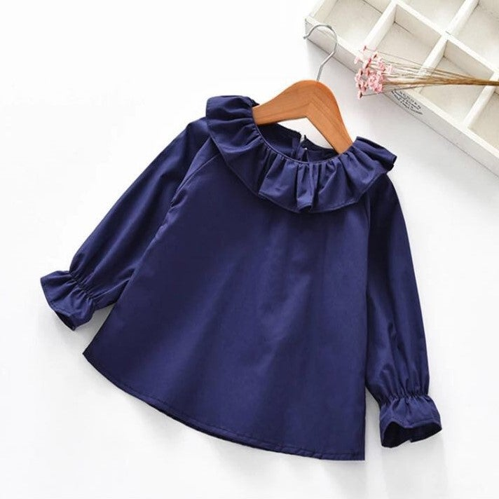 Image of Frill neck long sleeve top