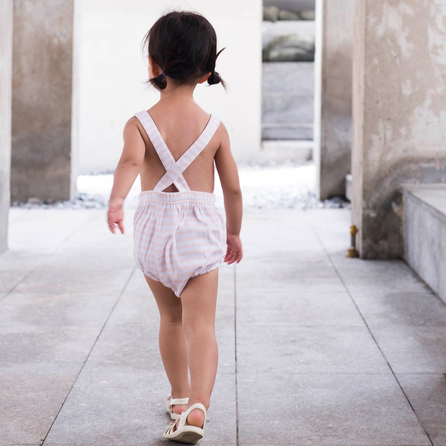 Image of Scout Cross Back Romper . Pink Stripe