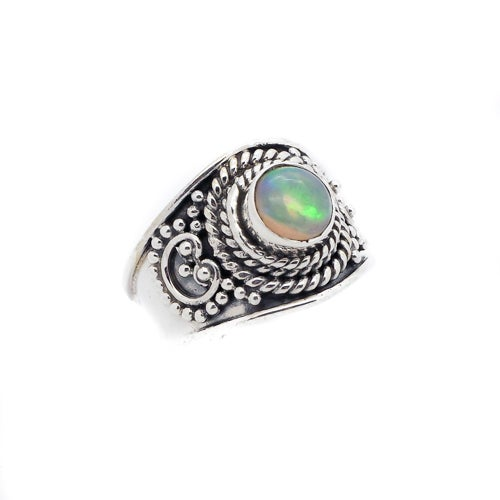 Image of Sterling Silver & Opal Starburst Ring