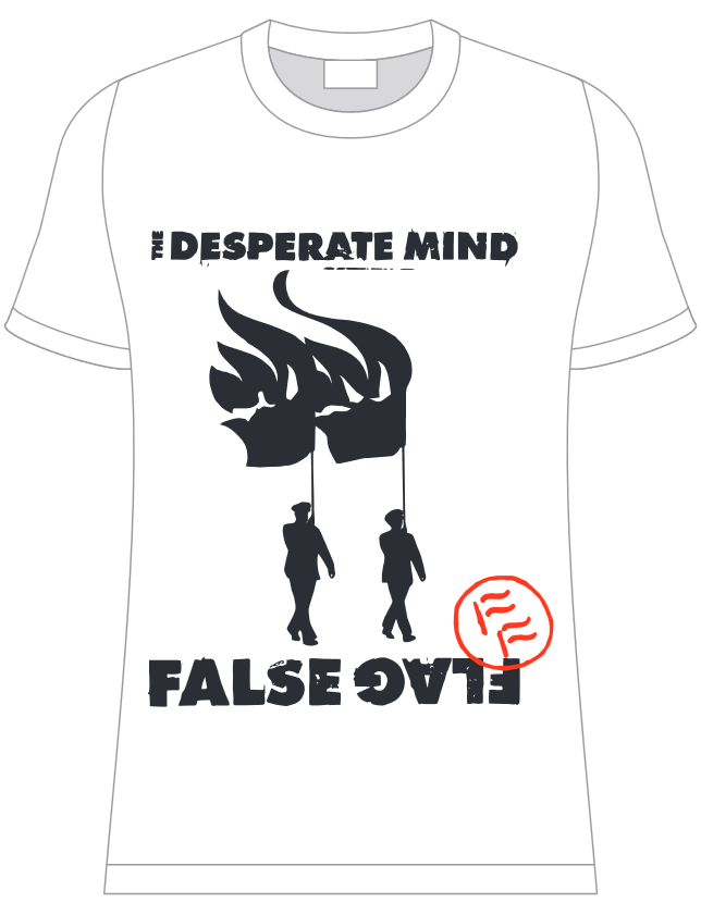 """Image of The Desperate Mind: """"Burning Flag March"""" T-Shirt (White)"""
