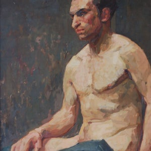 Image of Mid-Century Oil Portrait of a Young Man