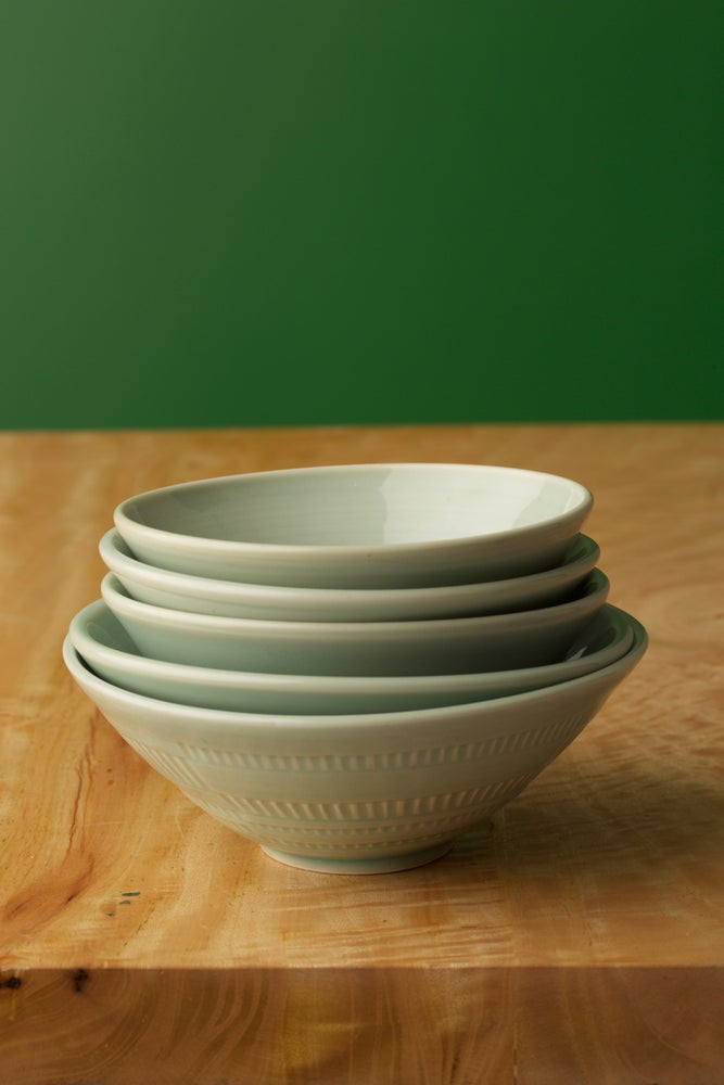 Image of Set of 5 Hi-fire Porcelain with a Celadon glaze bowls