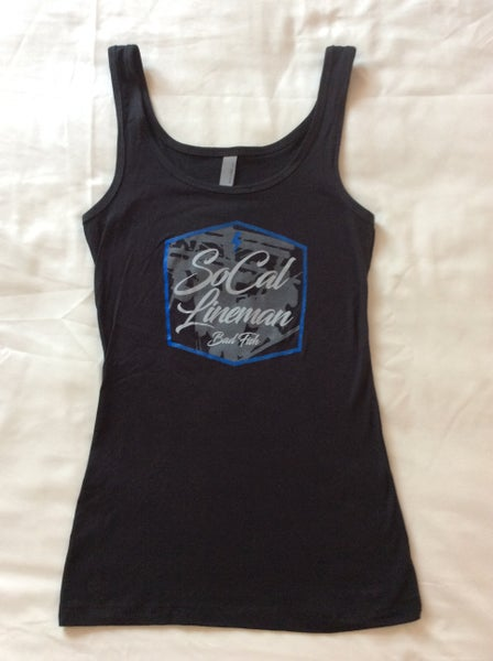 Image of Women's black tank top with blue