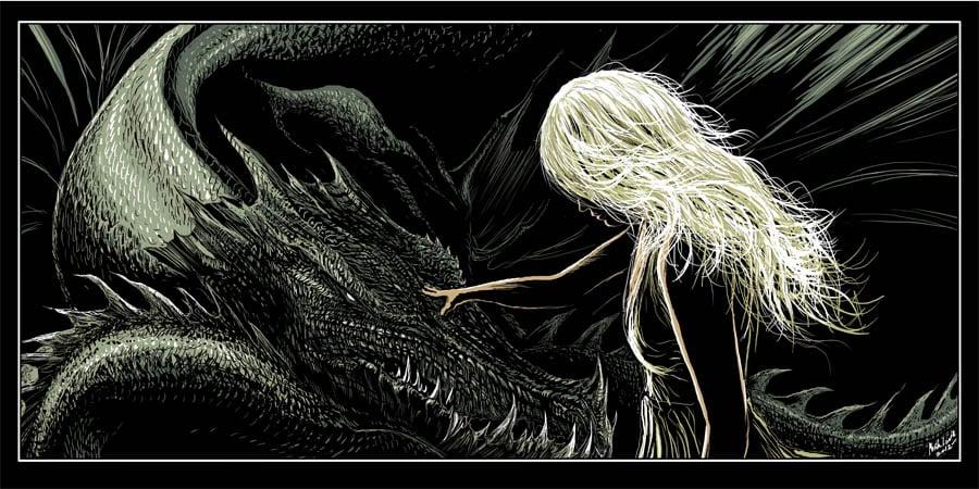 Image of DRAGON MOTHER display digital print and free bonus arya print