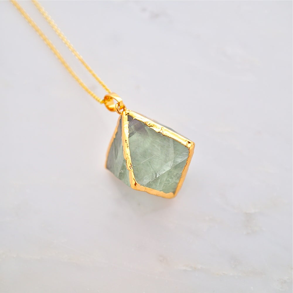 Image of Crystal necklace,Fluorite pendant ,natural stone necklace