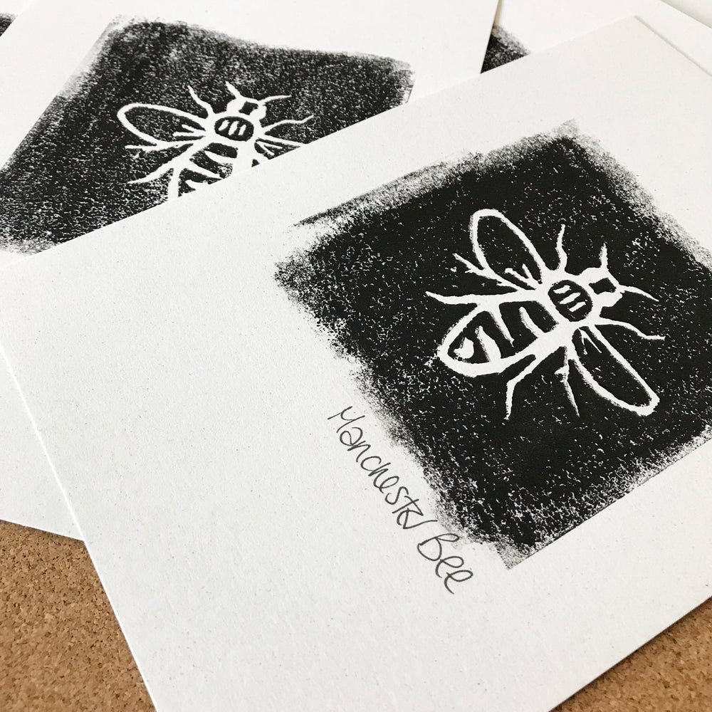 Image of Manchester Bee Lino Print by ManBeeCo