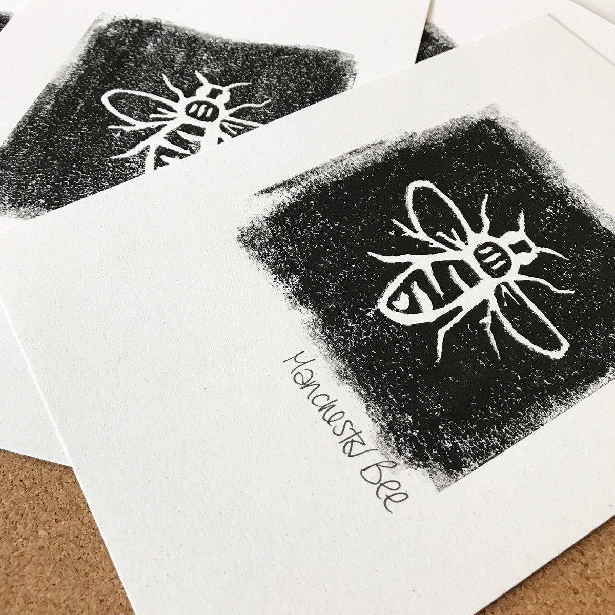 Image of Manchester Bee Lino Cut Print by ManBeeCo