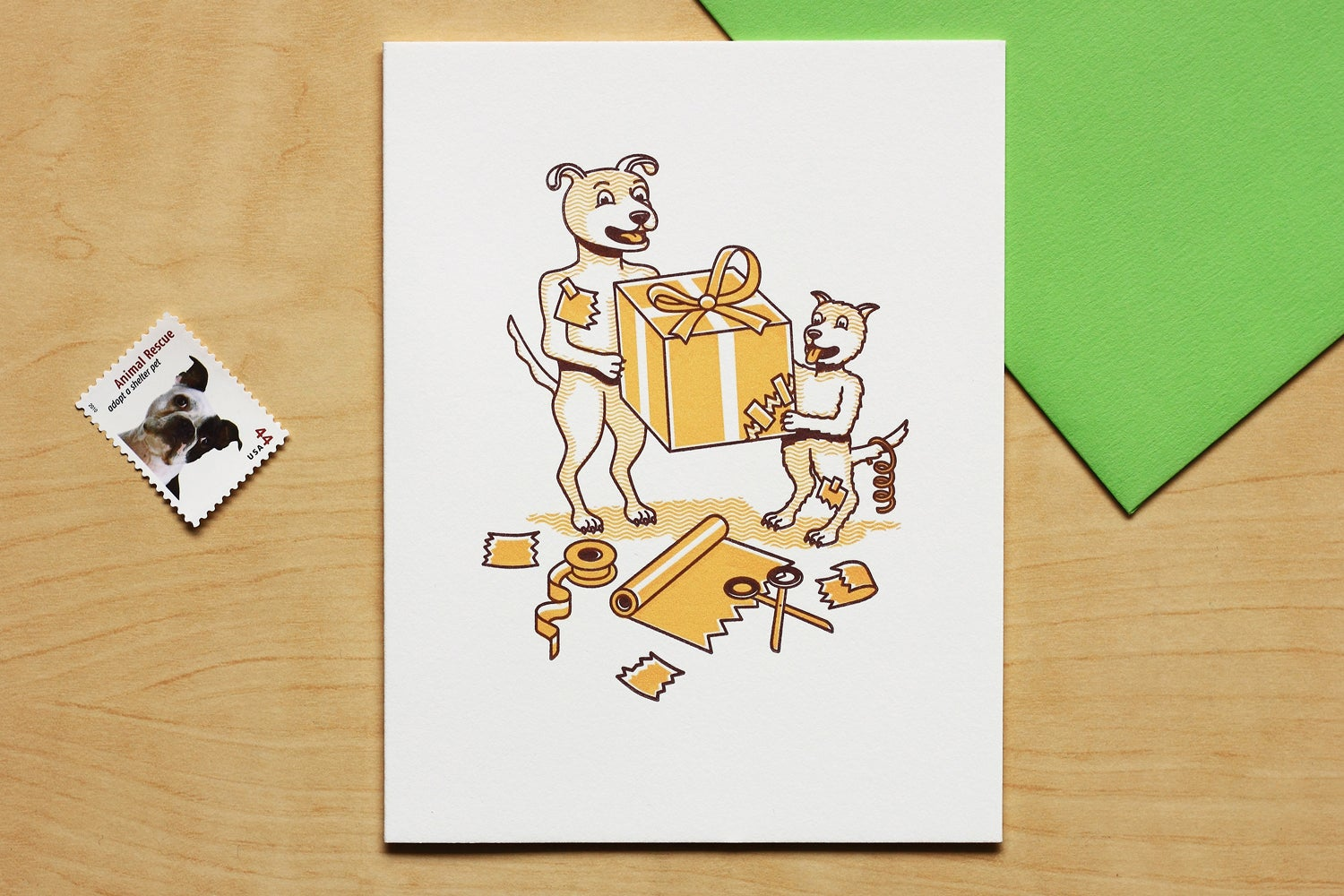 Image of DOGS WRAPPING GIFT Card