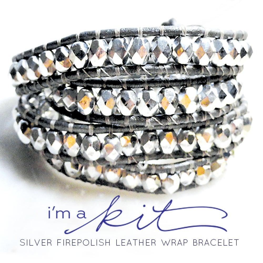 Image of july supply leather wrap bracelet kit - silver leather, silver firepolish